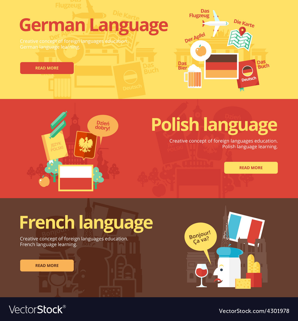 Flat banners for german polish french vector | Price: 1 Credit (USD $1)