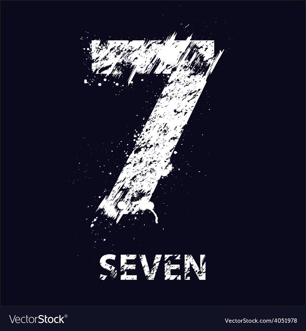 Grunge number seven vector | Price: 1 Credit (USD $1)
