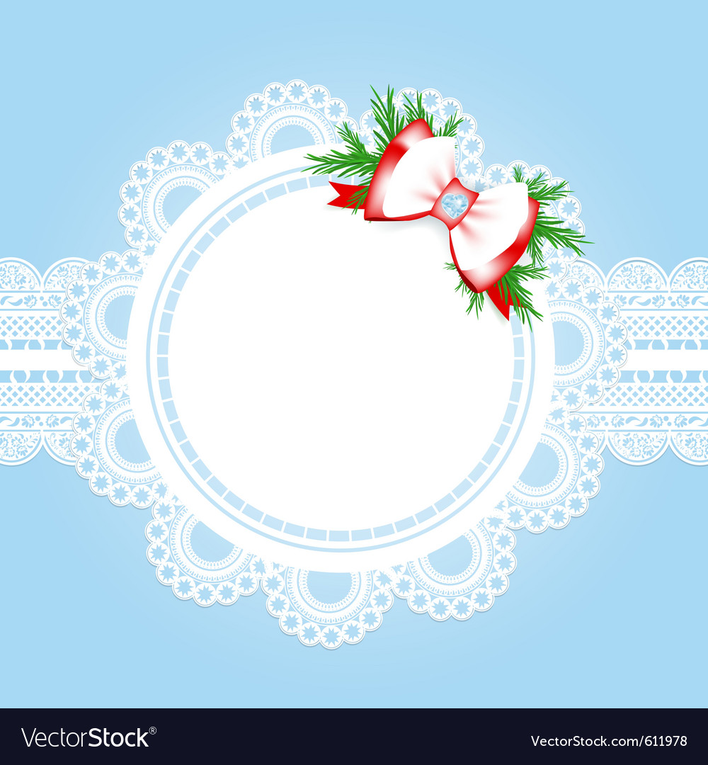 Lace round frame with christmas decorative bow vector | Price: 1 Credit (USD $1)