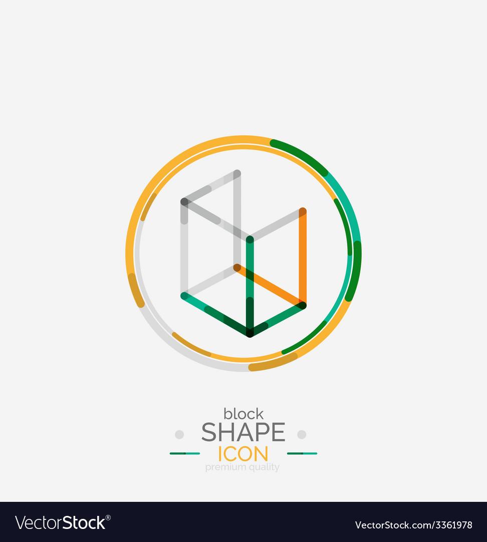 Minimal line design logo business icon block vector | Price: 1 Credit (USD $1)