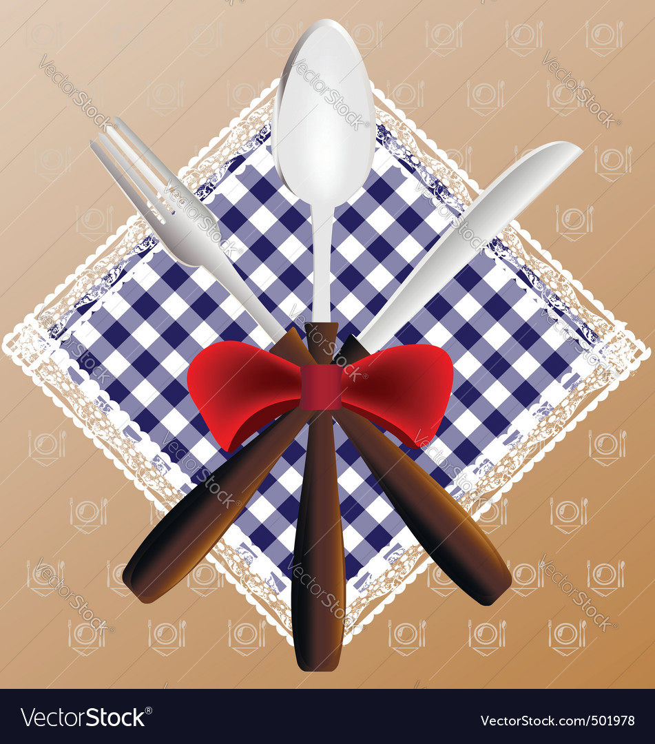 Napkin spoon knife and fork vector | Price: 1 Credit (USD $1)