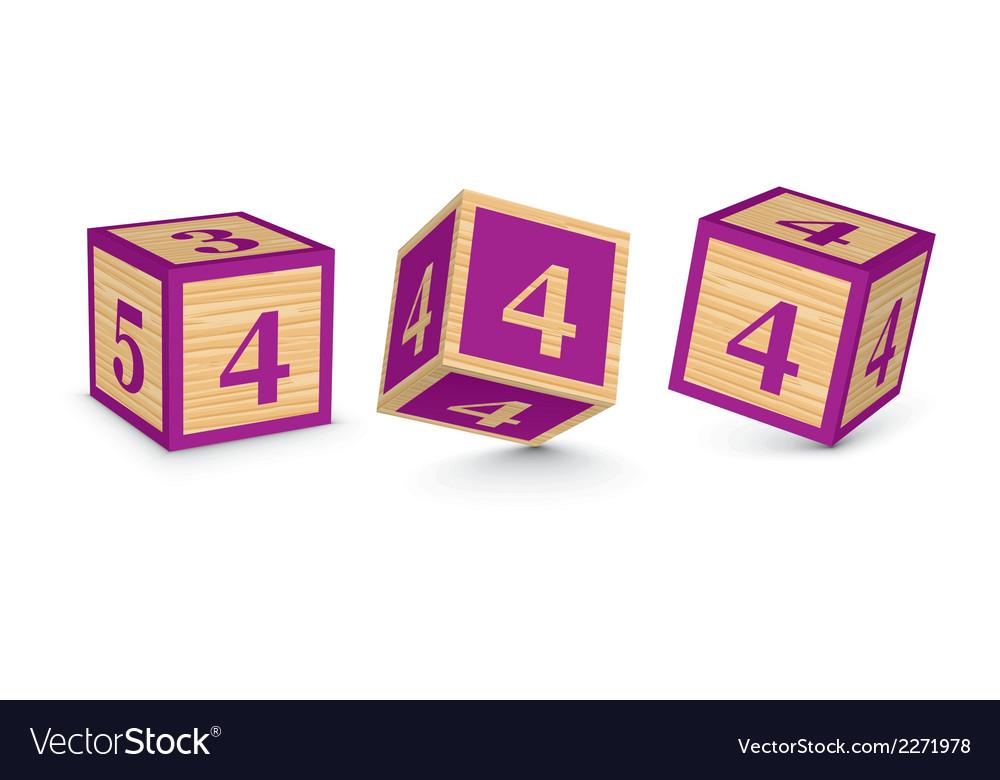 Number 4 wooden alphabet blocks vector | Price: 1 Credit (USD $1)