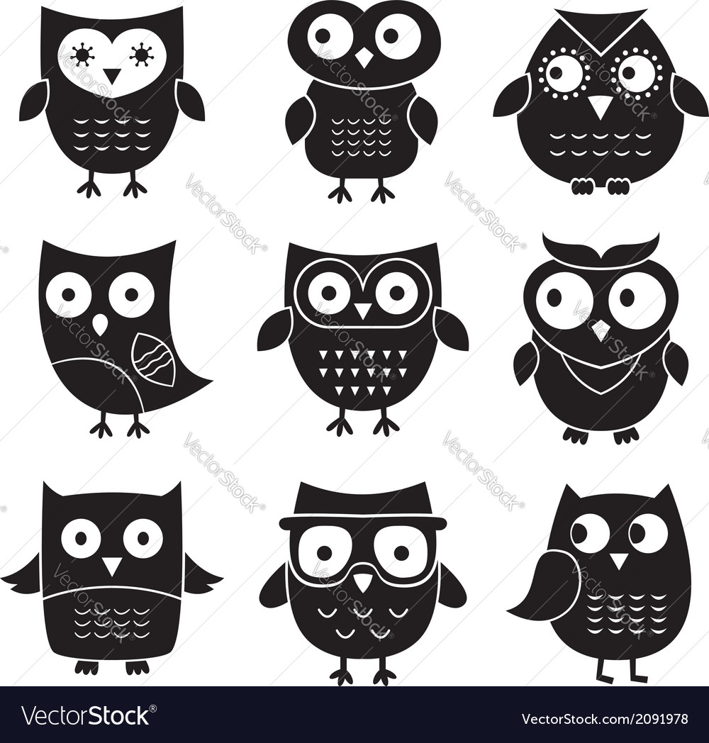 Owls set isolated elements vector | Price: 1 Credit (USD $1)