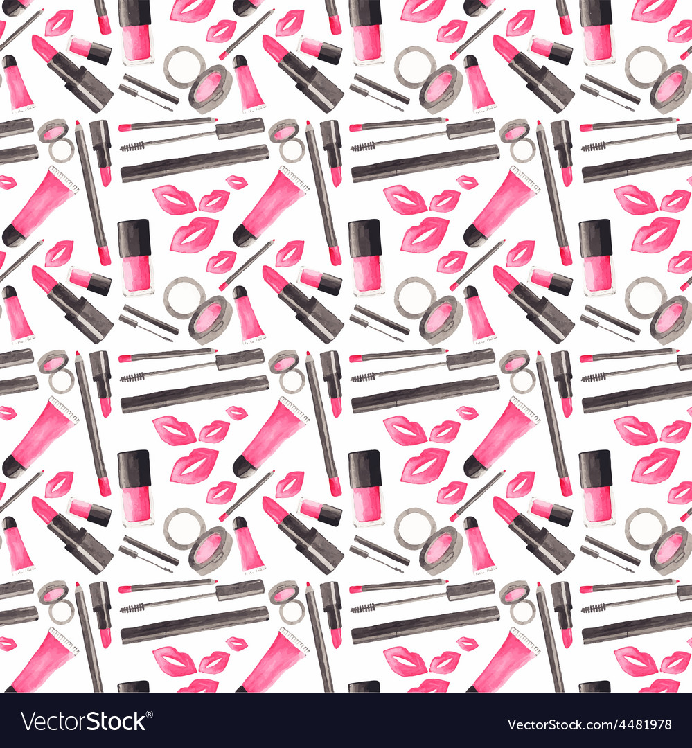 Seamless watercolor pattern with beauty items on vector | Price: 1 Credit (USD $1)