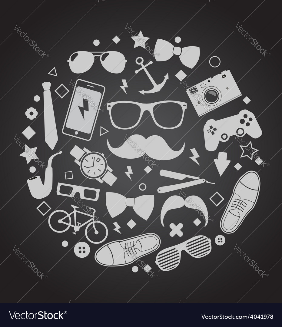 Set of fashionable mens accessories vector | Price: 1 Credit (USD $1)