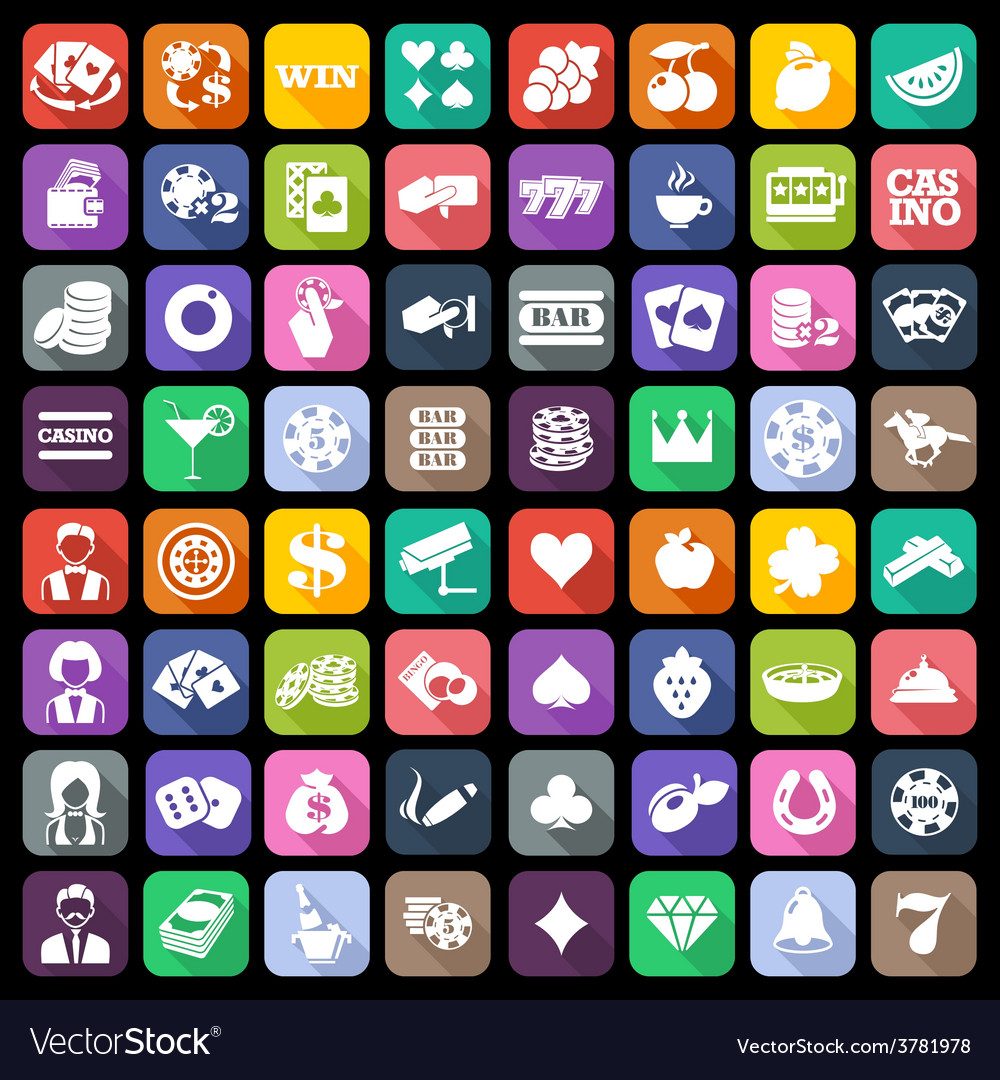The set of flat casino icons with long shadow vector   Price: 1 Credit (USD $1)