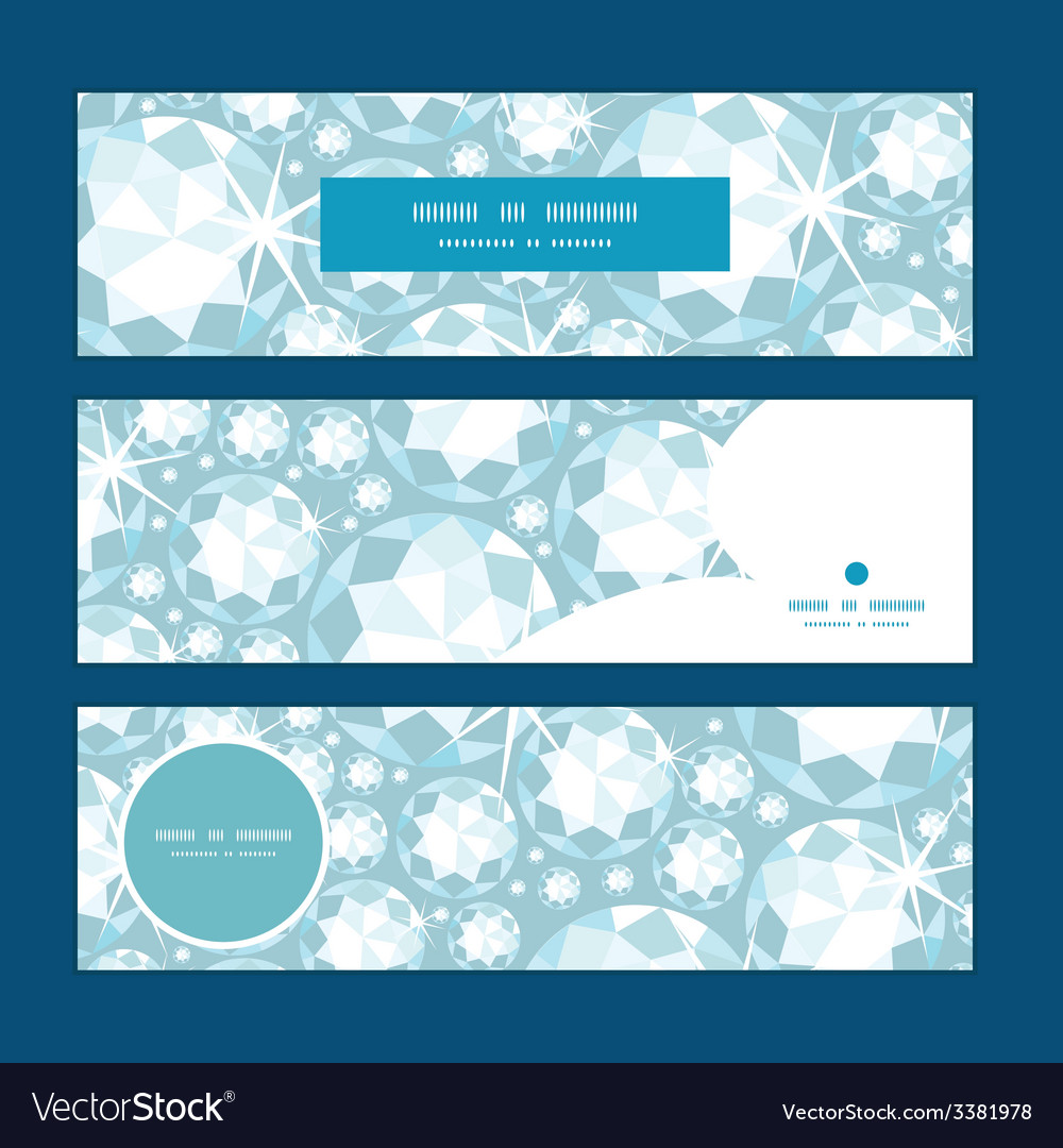 Shiny diamonds horizontal banners set pattern vector | Price: 1 Credit (USD $1)