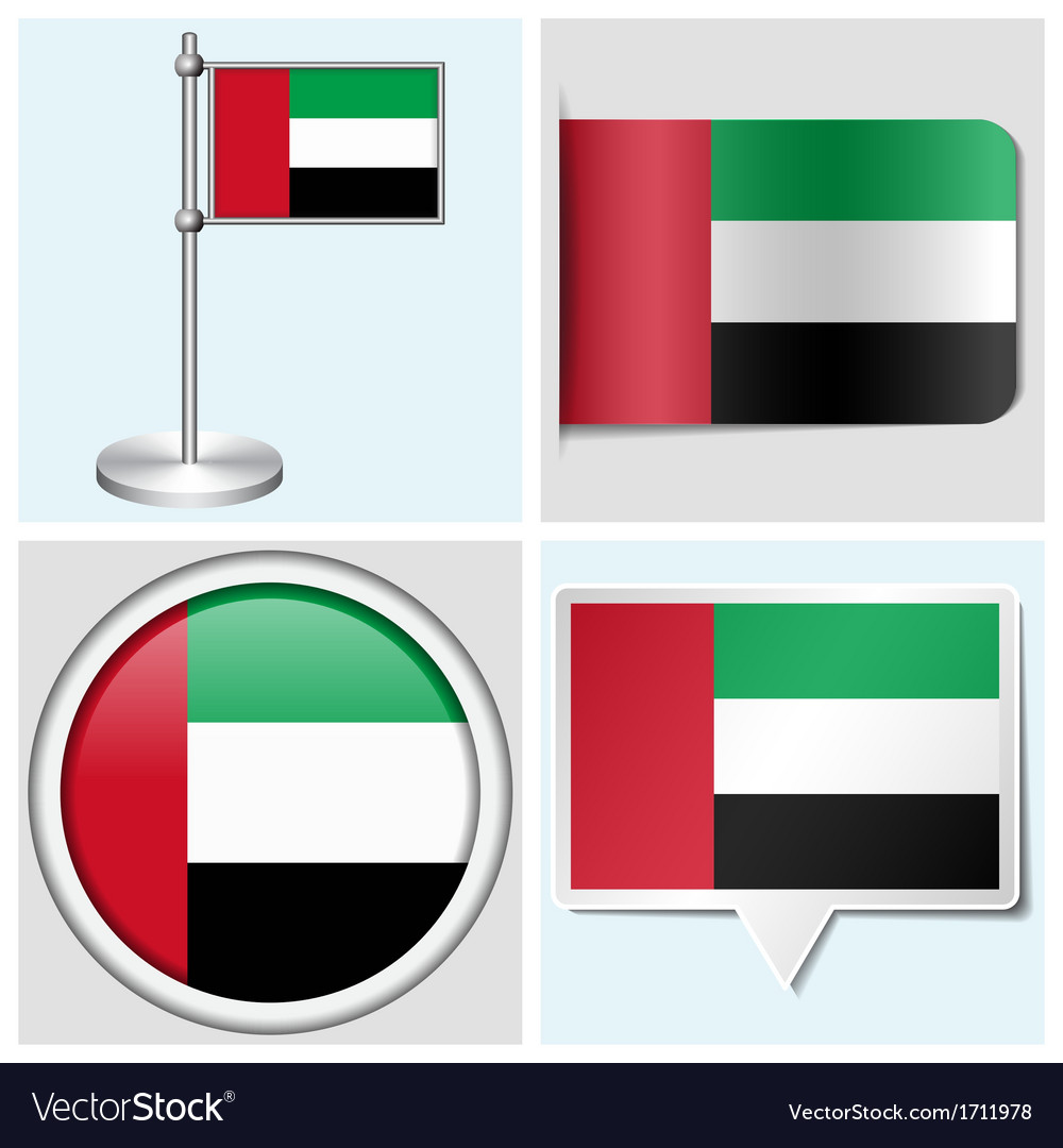 United arab emirates flag - sticker button label vector | Price: 1 Credit (USD $1)