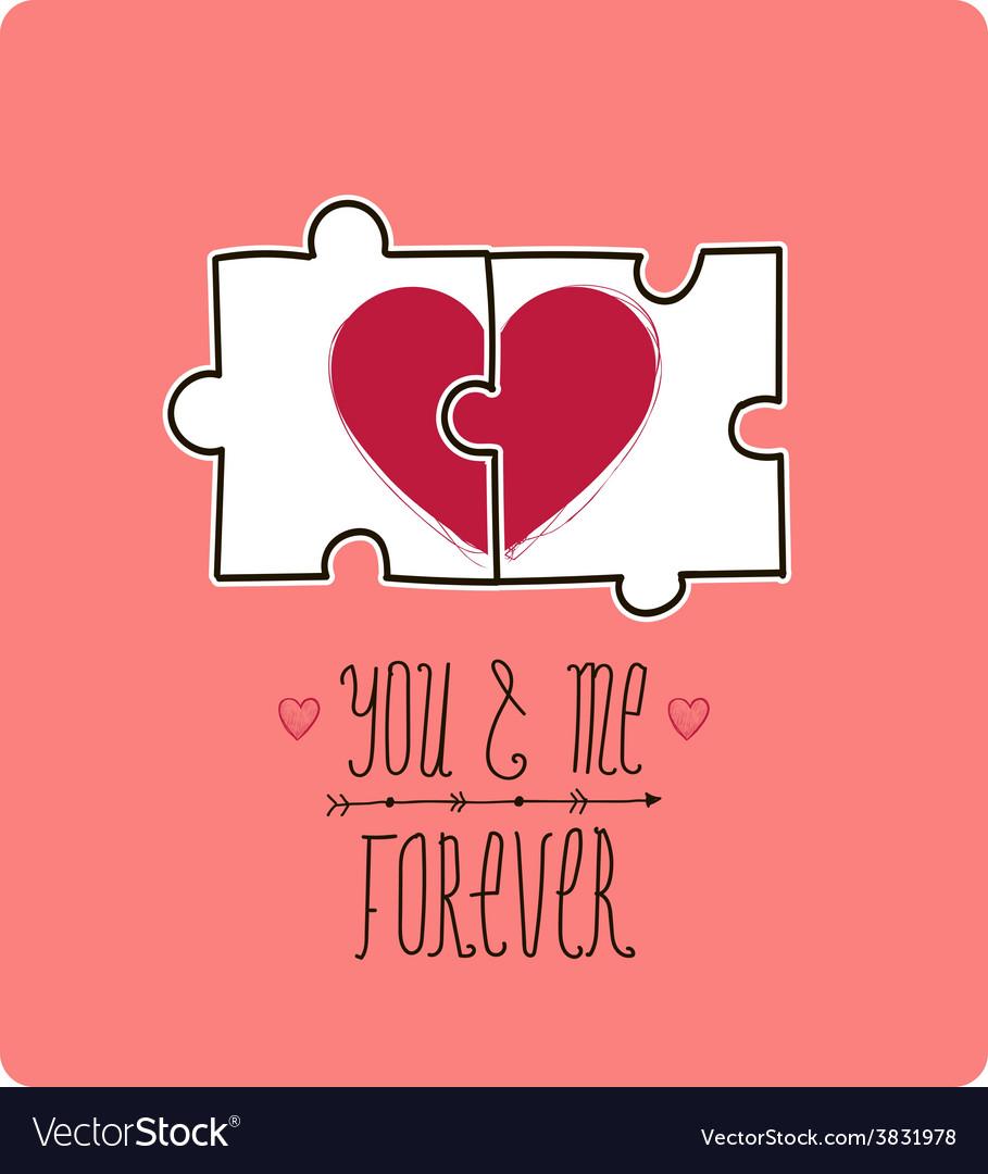 Valentine card creative idea - puzzle with vector | Price: 1 Credit (USD $1)