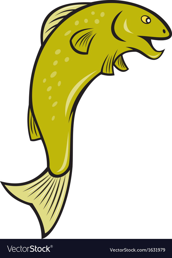 Cartoon spotted trout fish jumping vector | Price: 1 Credit (USD $1)