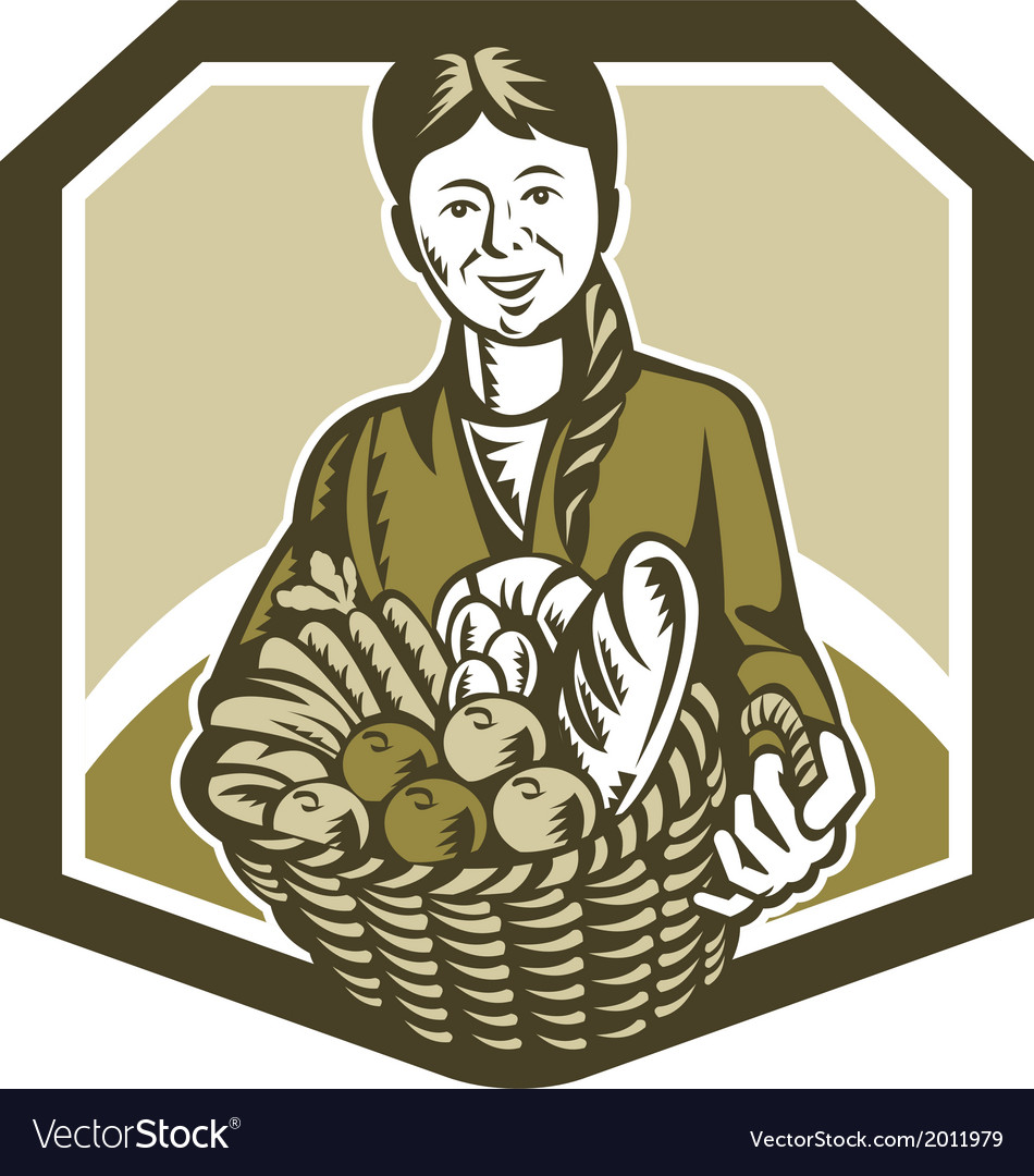 Female organic farmer crop harvest woodcut vector | Price: 1 Credit (USD $1)