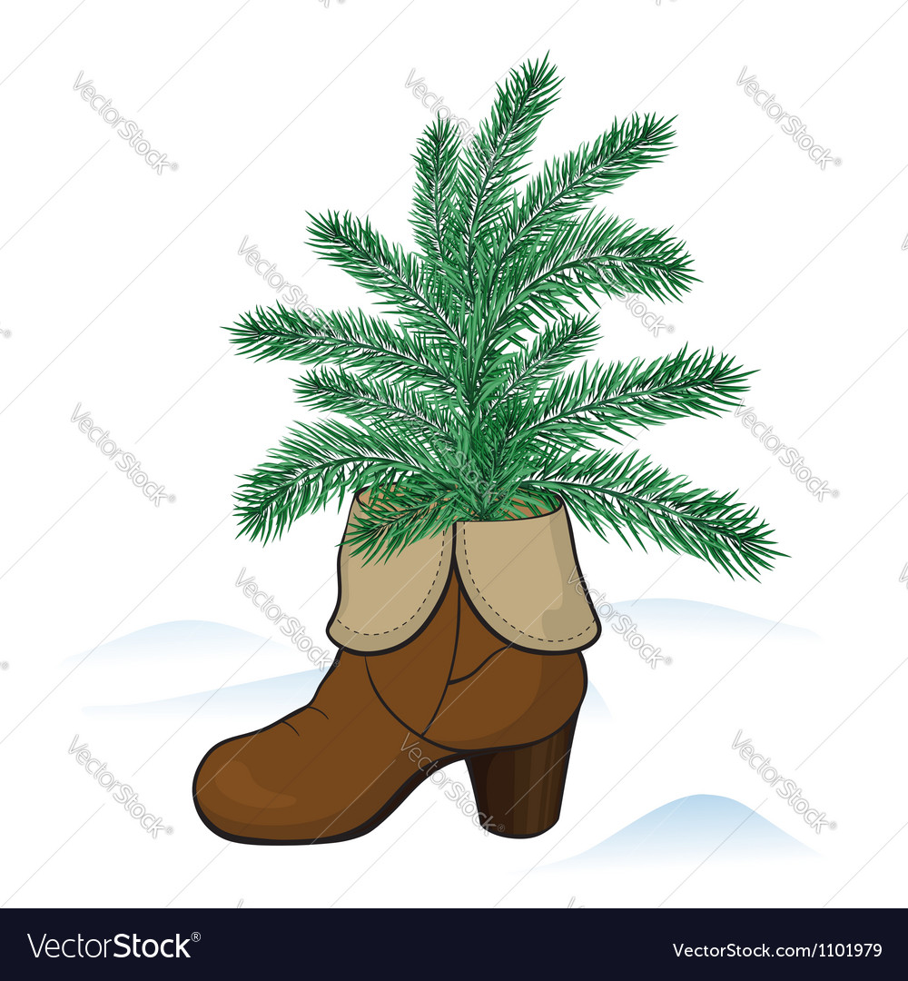 Fir tree in the boot vector | Price: 1 Credit (USD $1)