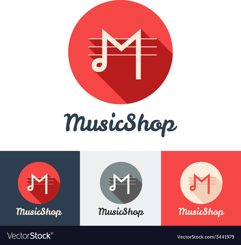 Flat modern minimalistic music shop or studio logo vector | Price: 1 Credit (USD $1)