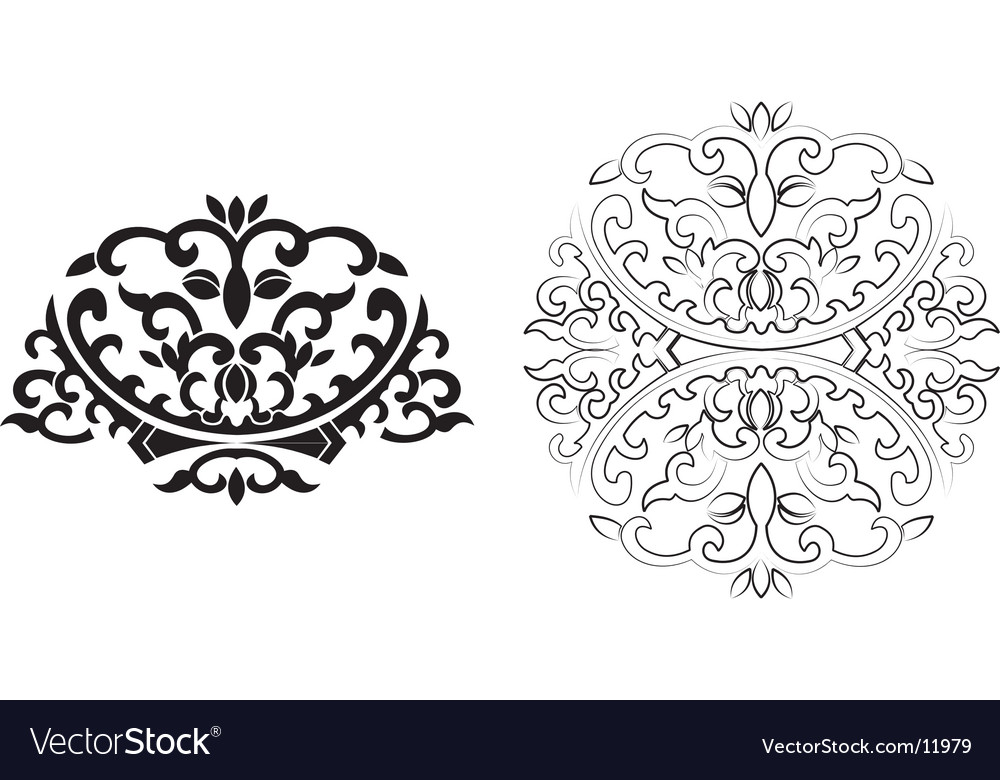 Floral curves ornament vector | Price: 1 Credit (USD $1)