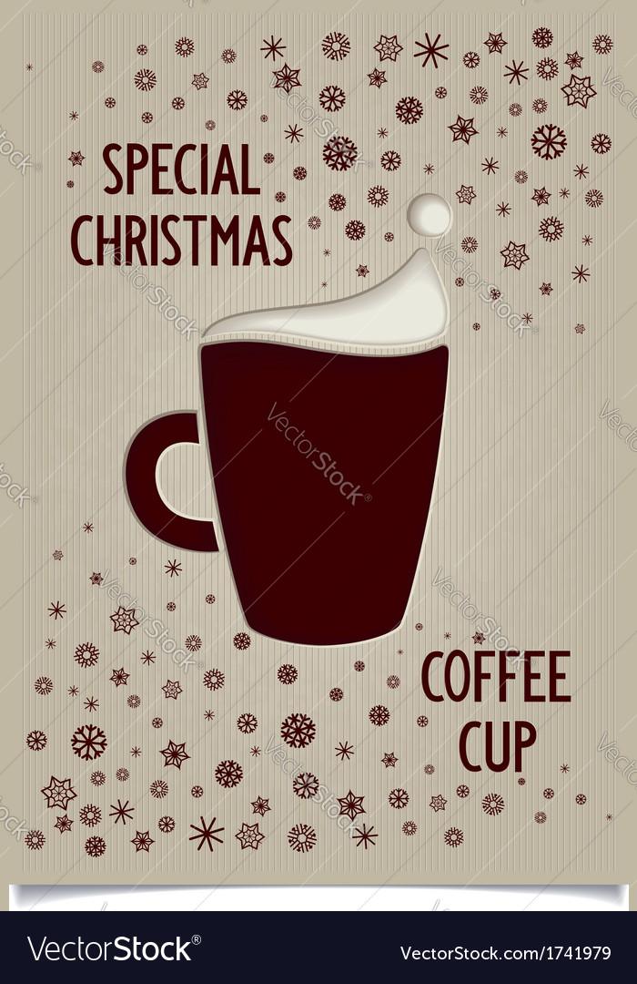 Fun vintage christmas dark coffee cup vector   Price: 1 Credit (USD $1)
