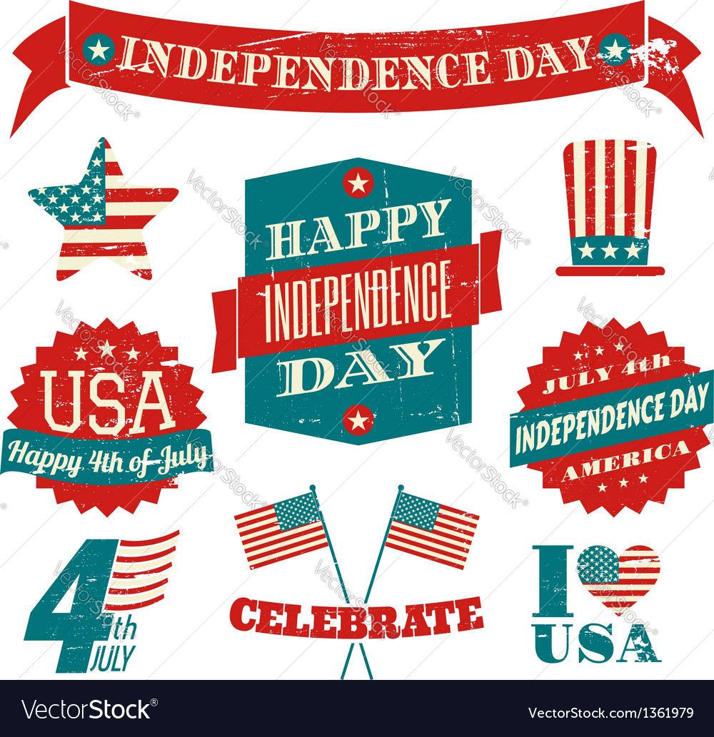Independence day vintagedesign elements collection vector | Price: 3 Credit (USD $3)