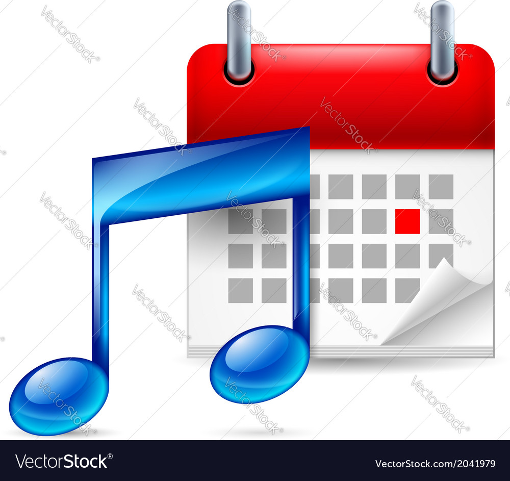 Music note and calendar vector | Price: 1 Credit (USD $1)
