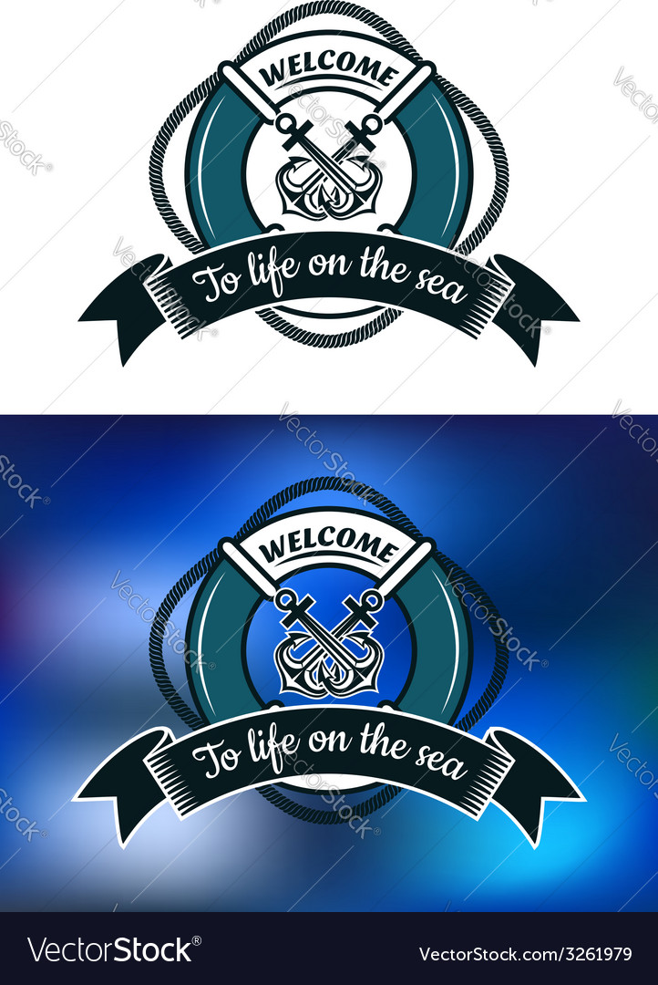 Nautical themed badge with life buoy vector | Price: 1 Credit (USD $1)