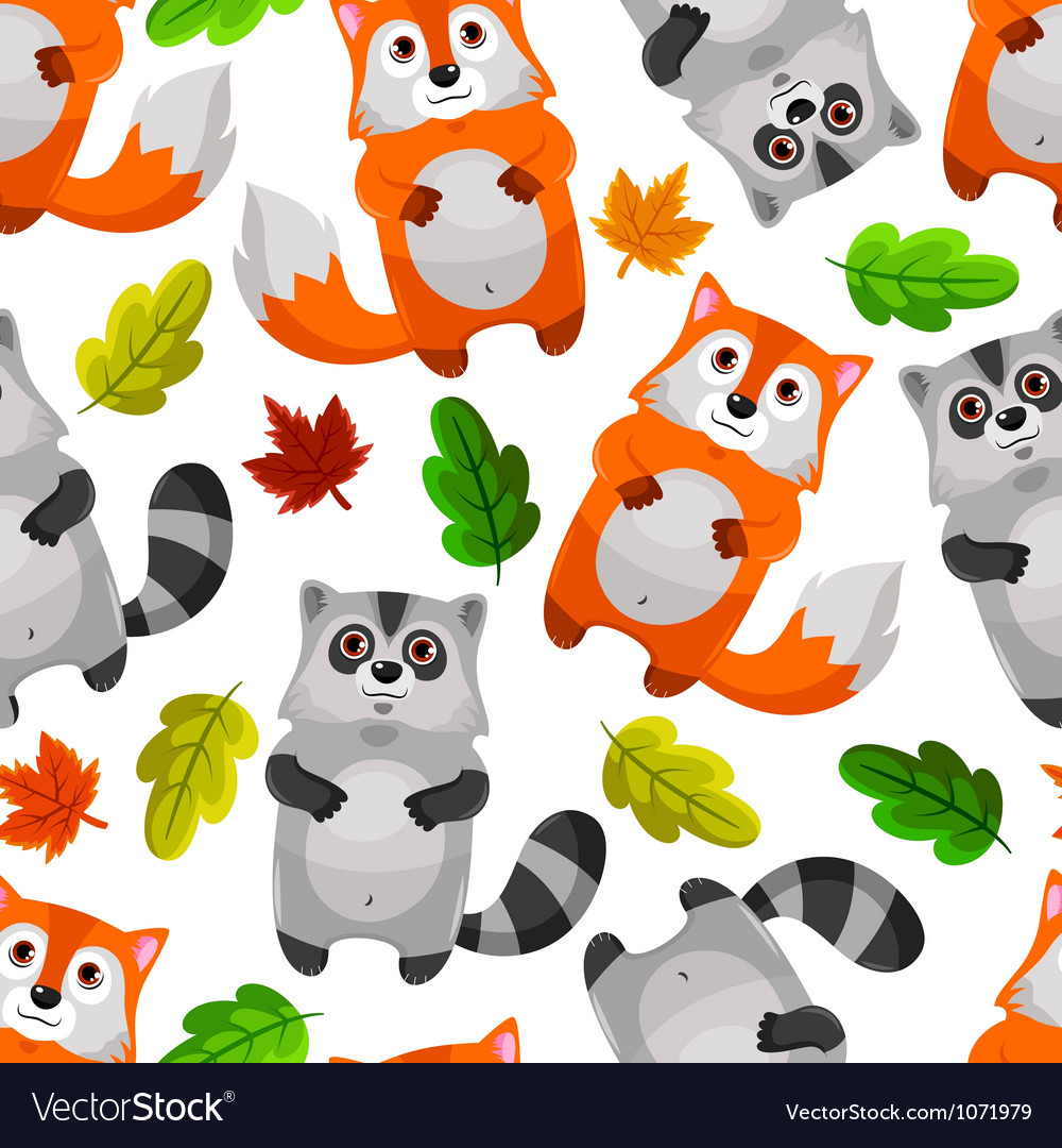 Racoons and foxes vector | Price: 1 Credit (USD $1)