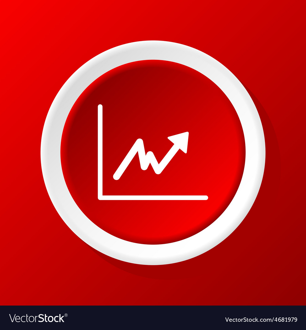 Rising graph icon on red vector   Price: 1 Credit (USD $1)
