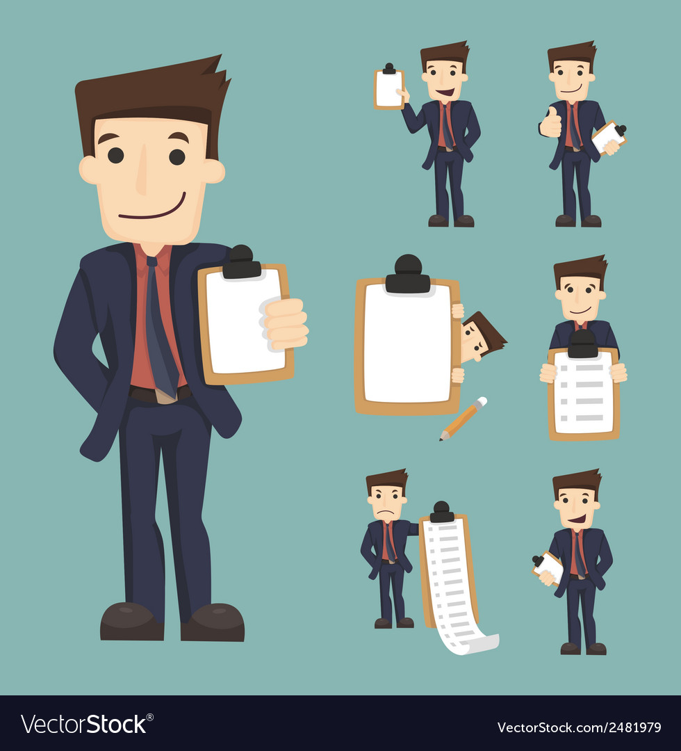 Set of businessman characters with checklist vector | Price: 1 Credit (USD $1)