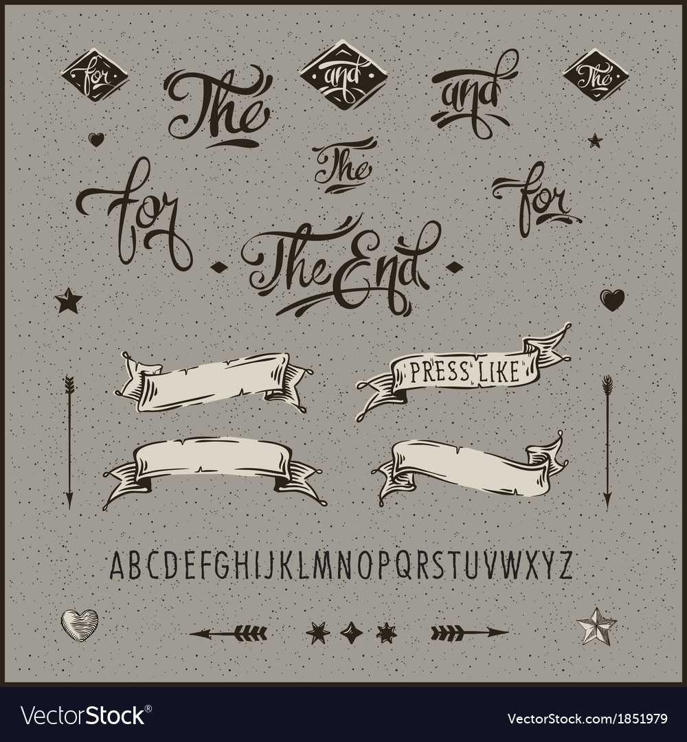 Set of vintage hipster ribbon arrow alphabet vector | Price: 1 Credit (USD $1)