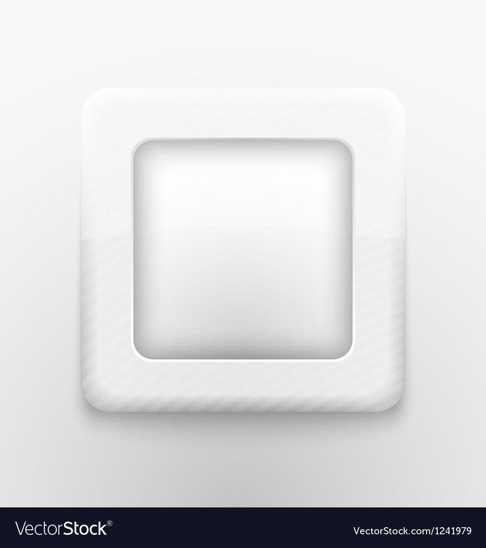 Square white button vector | Price: 1 Credit (USD $1)