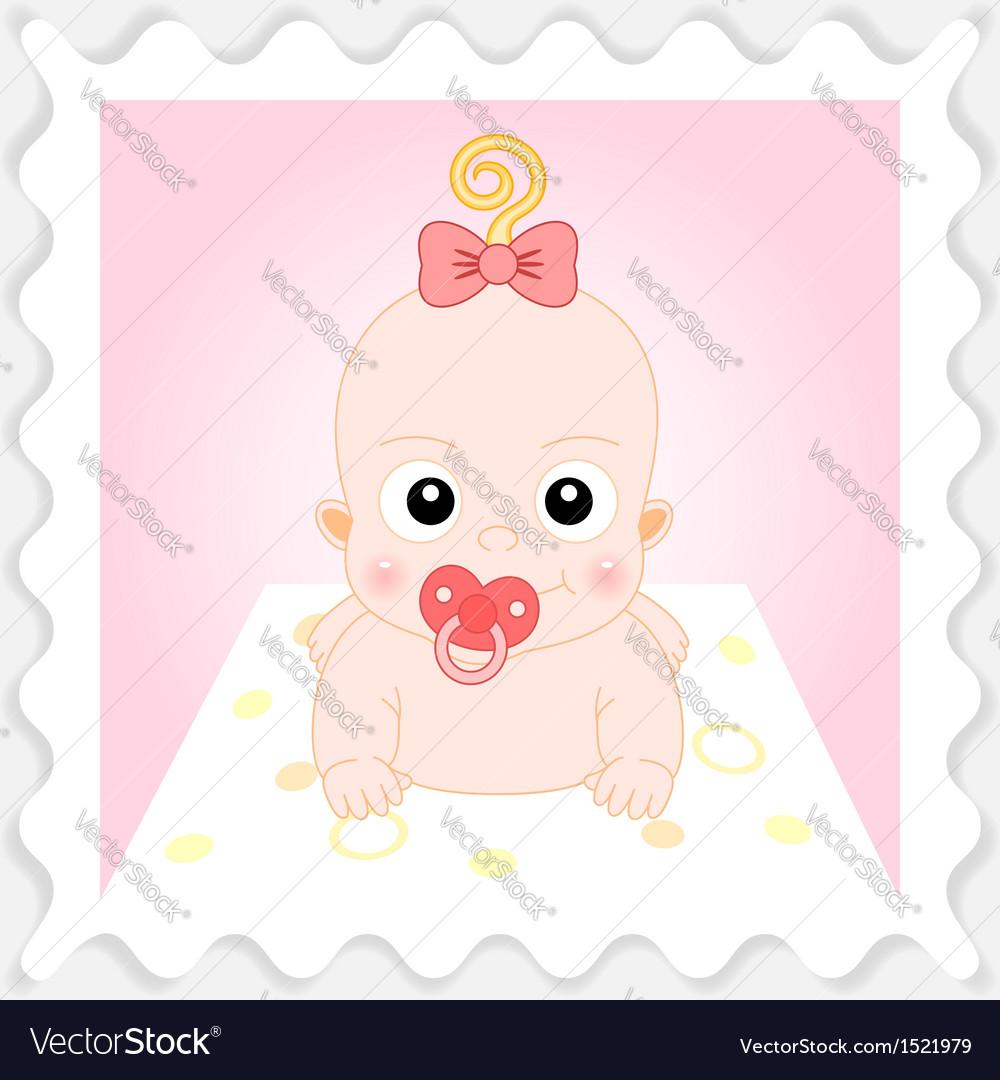 Sweet cartoon baby girl vector | Price: 1 Credit (USD $1)
