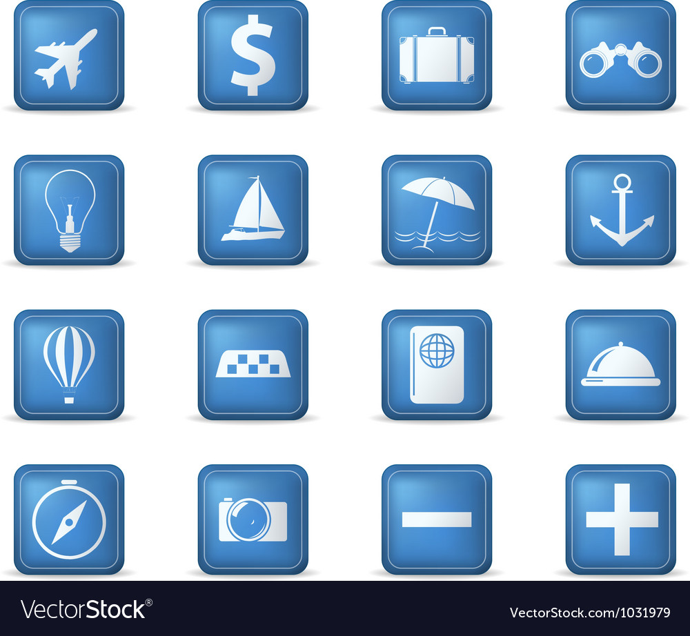 Travel icons square vector | Price: 1 Credit (USD $1)