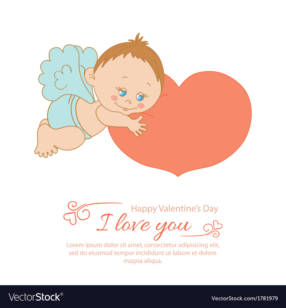 Valentines day greeting card with angel vector | Price: 1 Credit (USD $1)