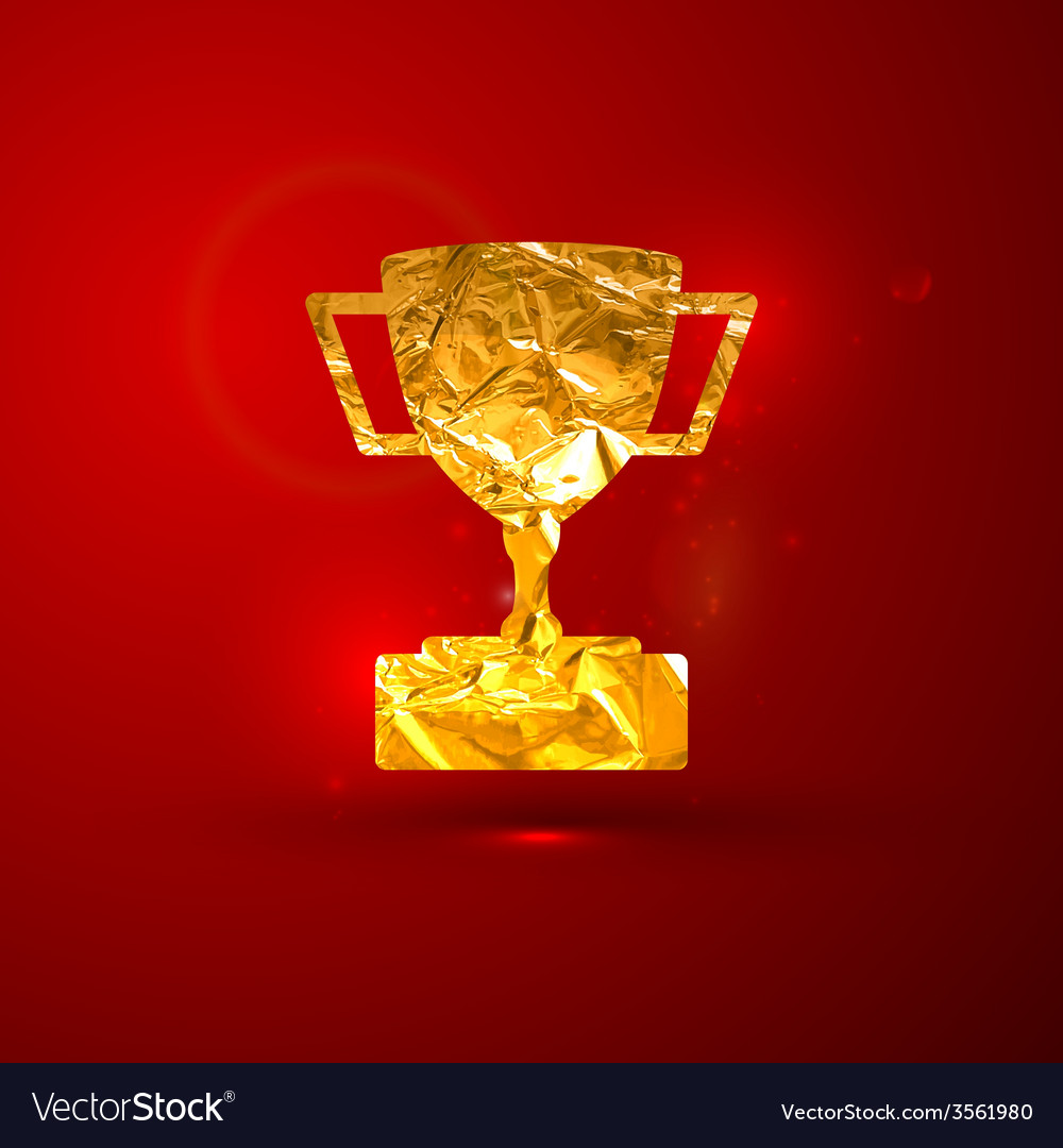 A golden metallic foil champions cup on t vector | Price: 1 Credit (USD $1)