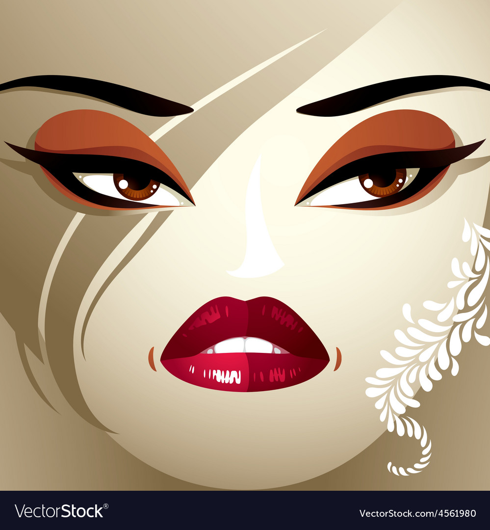 Attractive woman with stylish bright make-up and vector   Price: 1 Credit (USD $1)