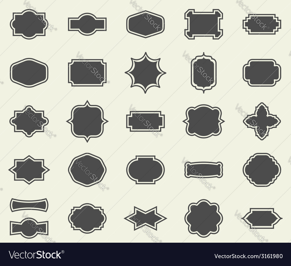 Blank empty dark frames and borders set collection vector | Price: 1 Credit (USD $1)