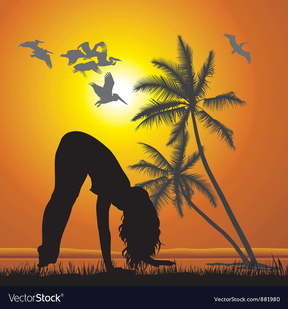 Exercising on the beach vector | Price: 1 Credit (USD $1)