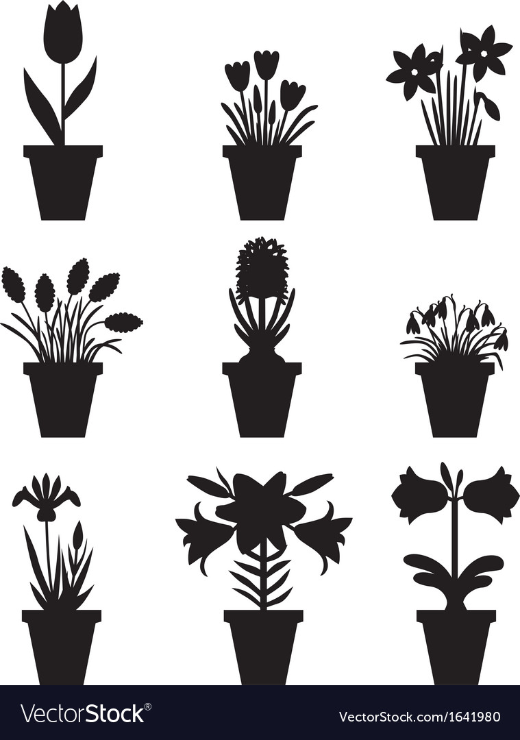 Flower pot black vector | Price: 1 Credit (USD $1)