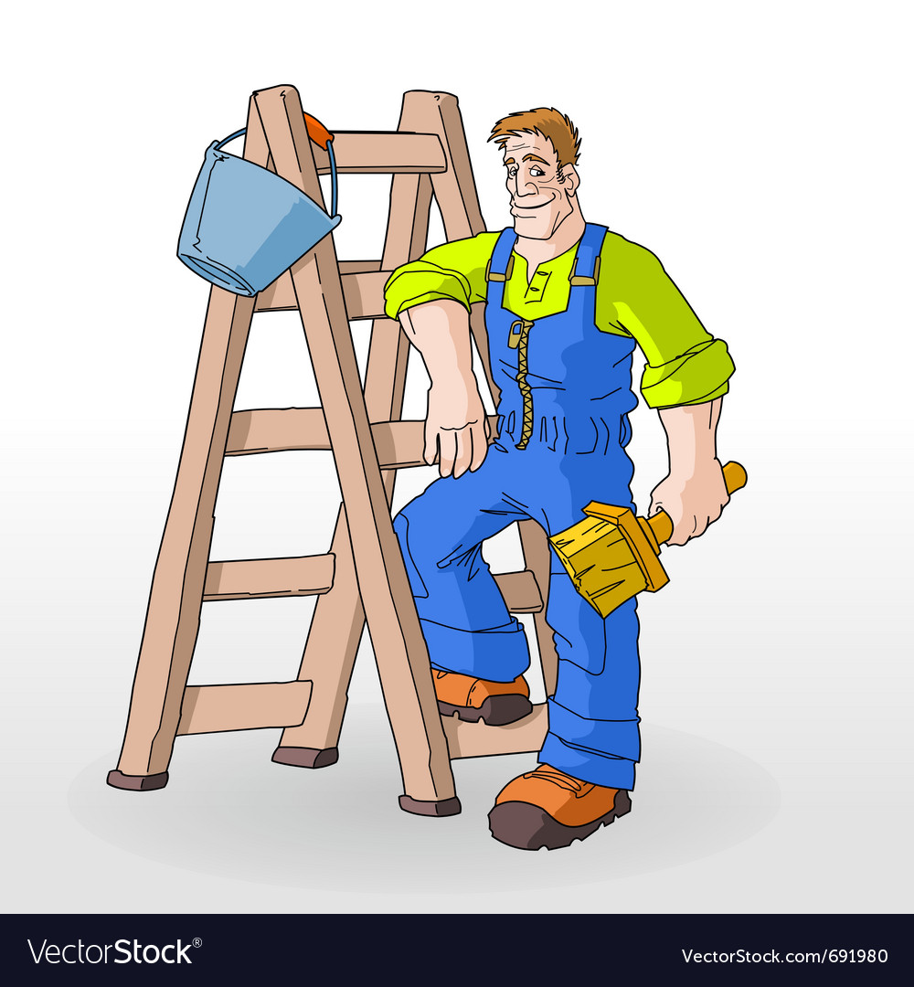 Painter painting with ladder vector | Price: 3 Credit (USD $3)