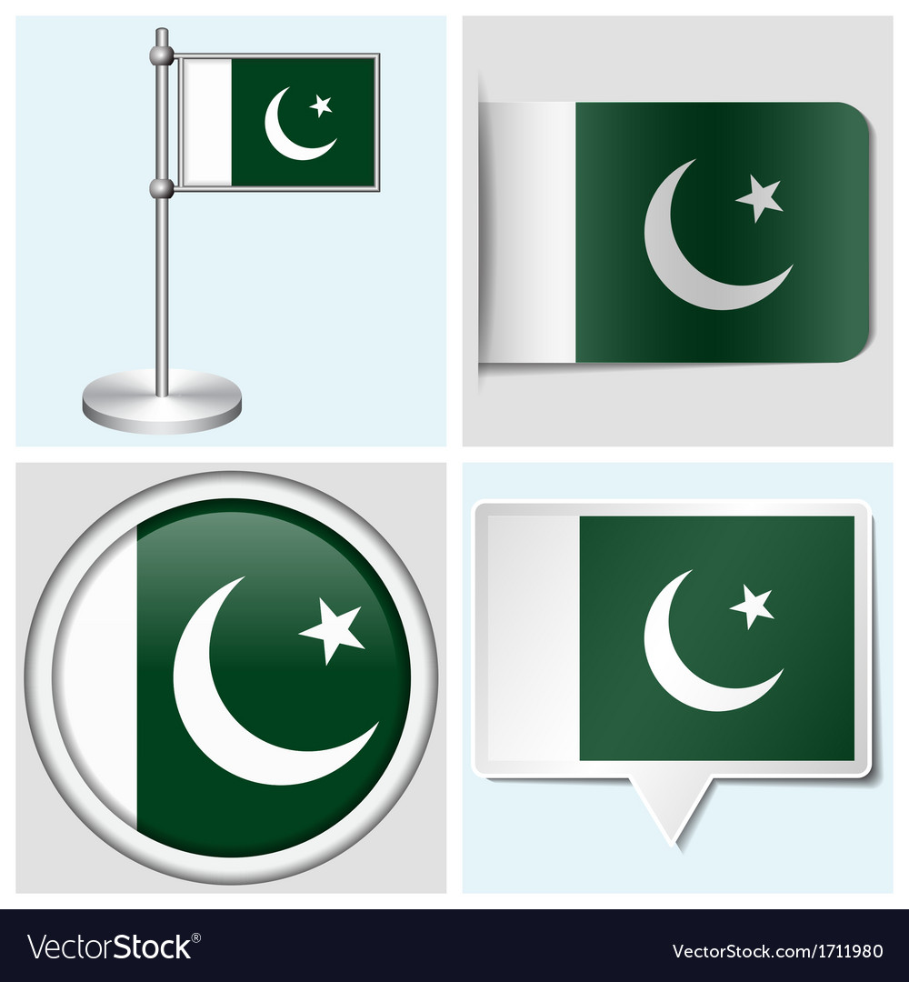 Pakistan flag - sticker button label flagstaff vector | Price: 1 Credit (USD $1)