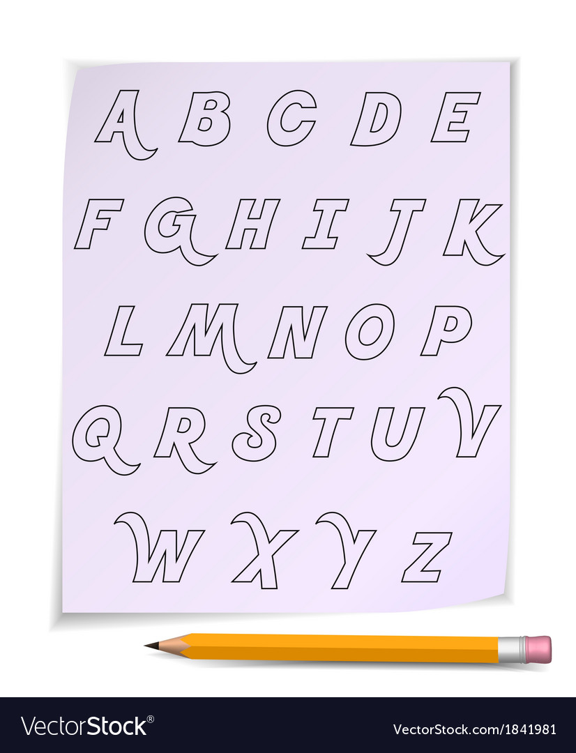 Alphabet on page with yellow pencil vector | Price: 1 Credit (USD $1)