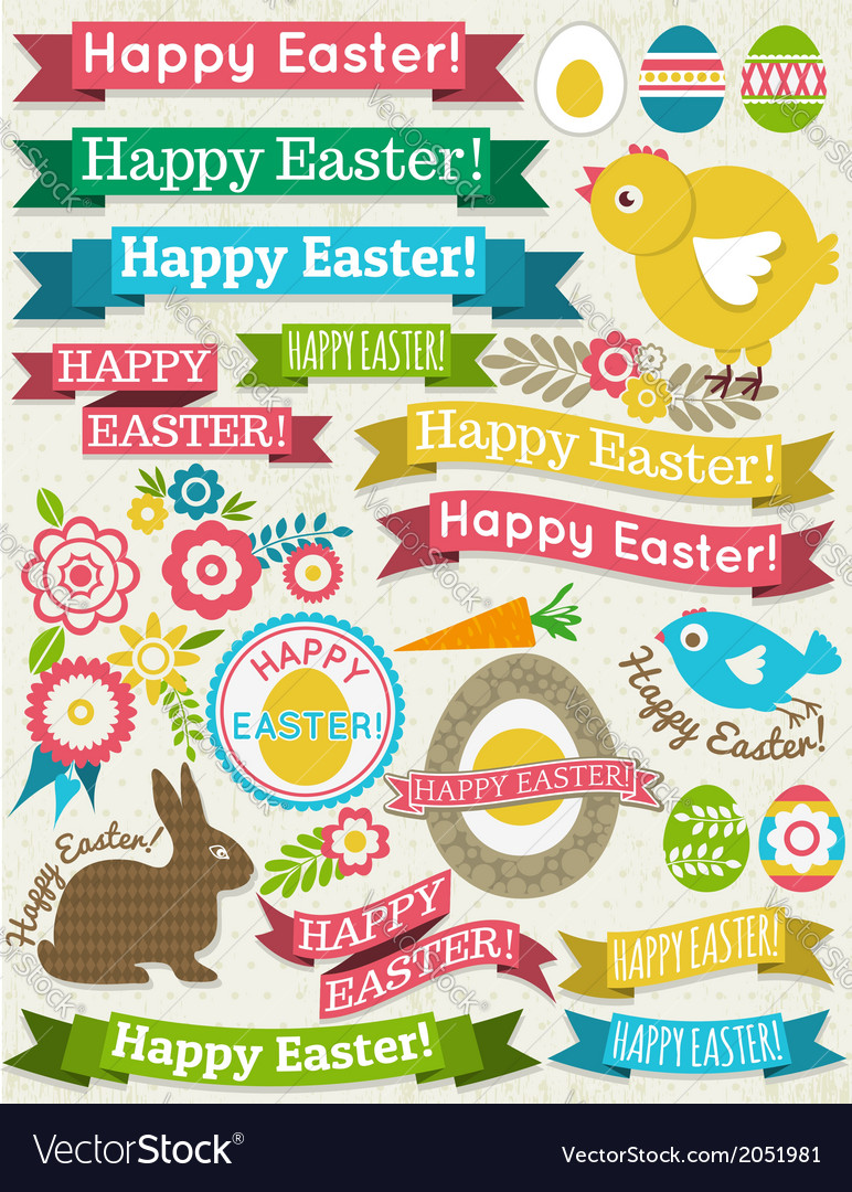 Background with ribbon easter eggs rabbit and flow vector | Price: 1 Credit (USD $1)