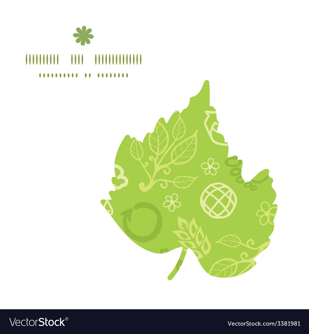 Environmental leaf silhouette pattern frame vector | Price: 1 Credit (USD $1)