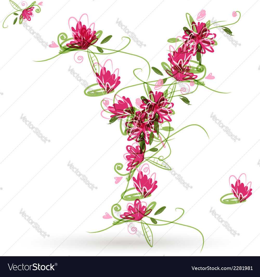 Floral letter y for your design vector | Price: 1 Credit (USD $1)