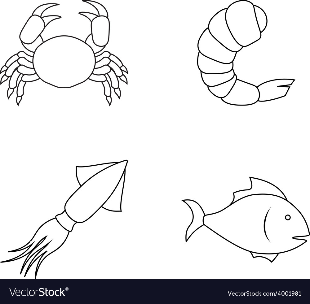 Four seafood icons vector | Price: 1 Credit (USD $1)