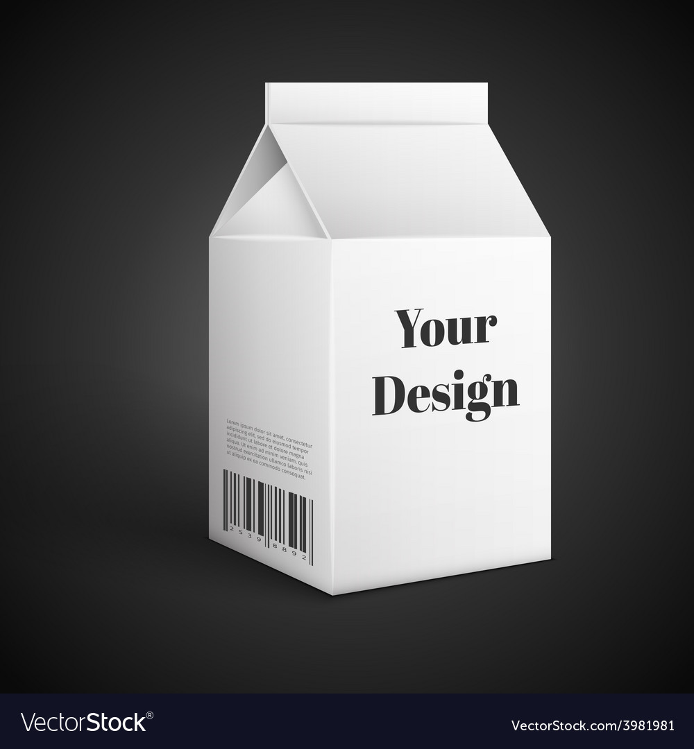 Milk juice beverages carton package blank white vector | Price: 1 Credit (USD $1)