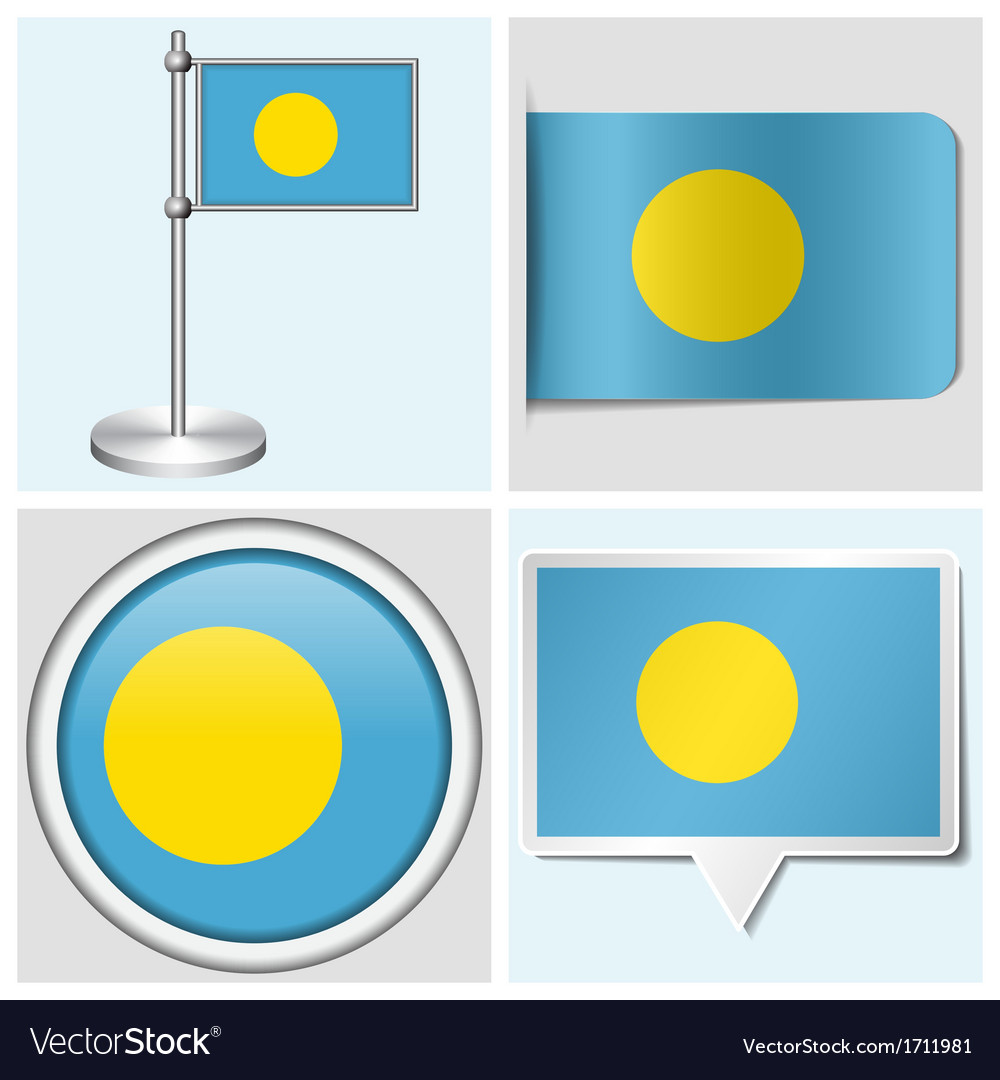 Palau flag - sticker button label flagstaff vector | Price: 1 Credit (USD $1)