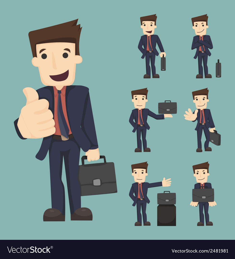 Set of businessman with bag vector | Price: 1 Credit (USD $1)