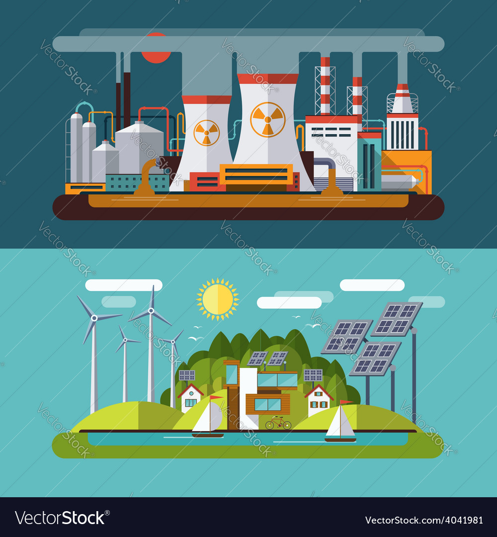 Set of flat ecology concept vector | Price: 1 Credit (USD $1)