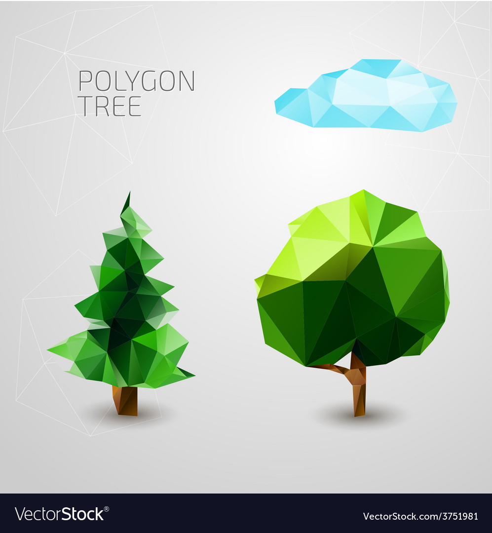 Set of polygons trees spruce cloud vector | Price: 1 Credit (USD $1)