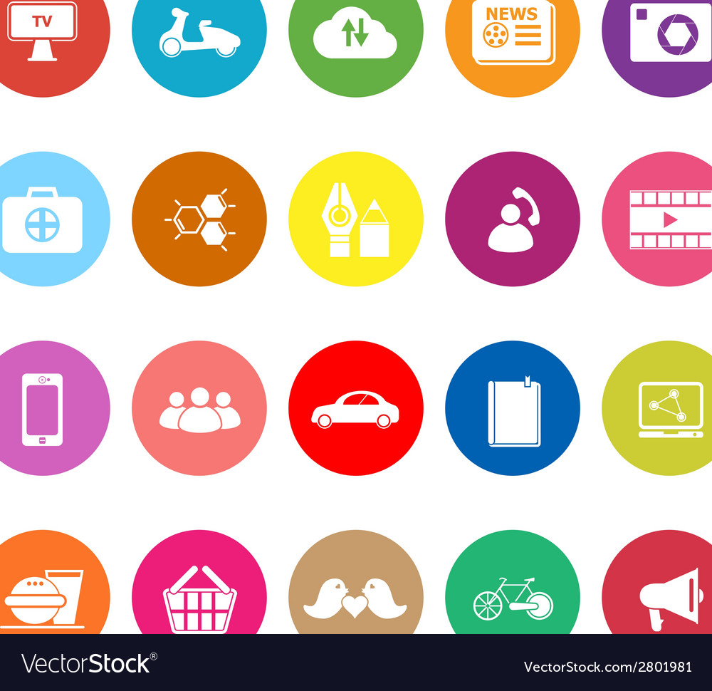 Social network flat icons on white background vector | Price: 1 Credit (USD $1)