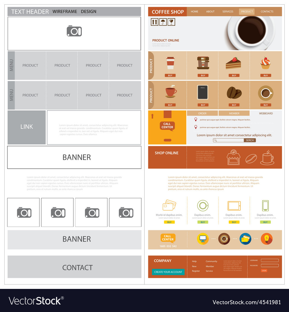 Website wireframe template and mock up vector   Price: 1 Credit (USD $1)