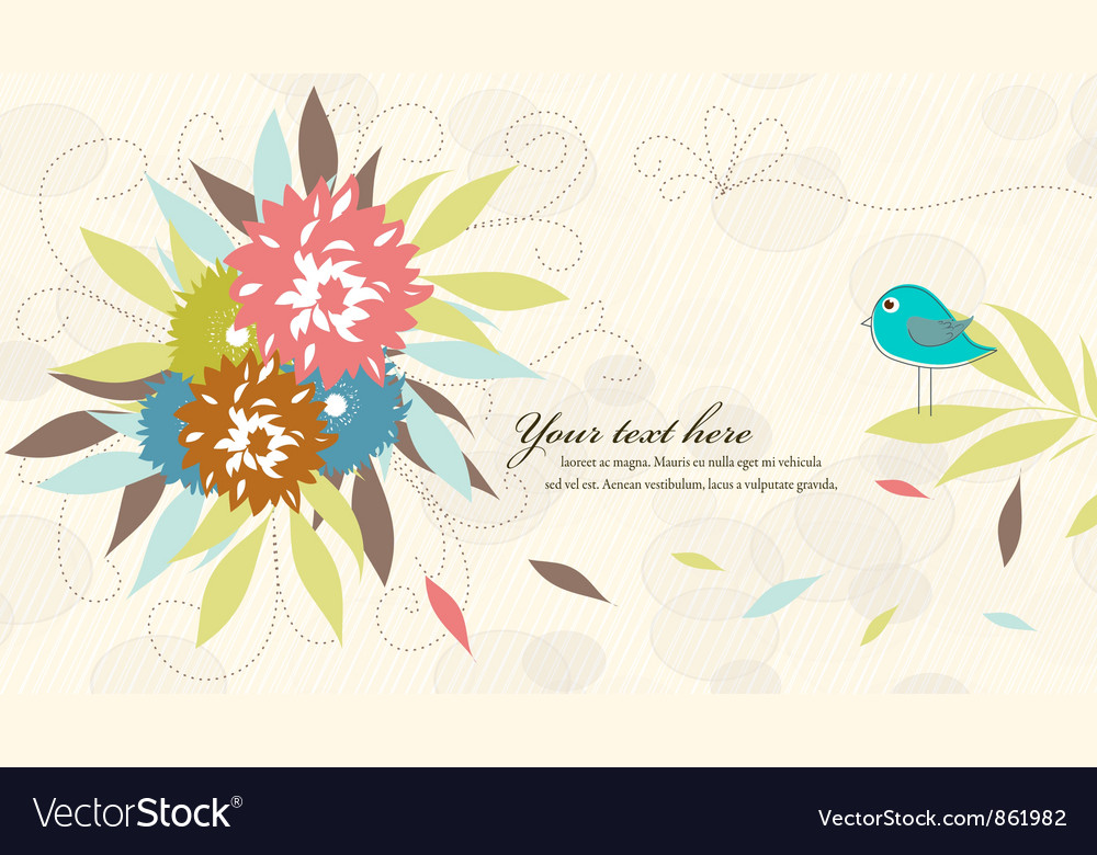 Bird with floral vector | Price: 1 Credit (USD $1)